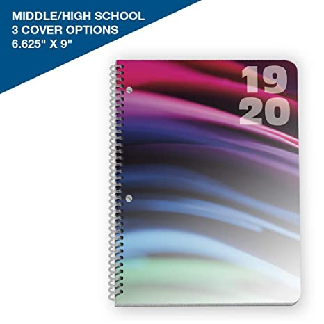"2019-2020 Middle/High School Matrix Style Student Planner, 6.625"" x 9"" Mid-Size with Silk Cover Designby School Datebooks"