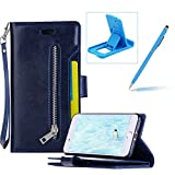Dark Blue Zipper Leather Case for iPhone 6,Strap Flip Leather Case for iPhone 6S,Herzzer Premium Classic Multi-functional Zipper Pocket Stand Folio PU Leather Flip Cover with Inner Soft TPU