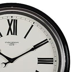 Studio Designs Home 19 Traditional Metal Roman Wall Clock, Black