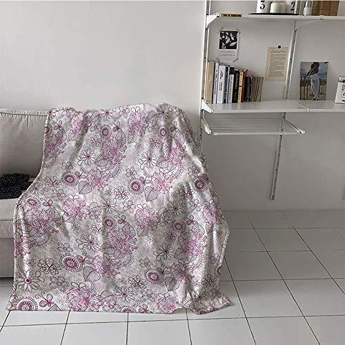 Khaki home Children's Blanket Lightweight Print Artwork (60 by 80 Inch,Floral,Shabby Chic Vintage Flower Motifs in Soft Toned Essence Beauty Nature Design,Fuchsia Light Pink