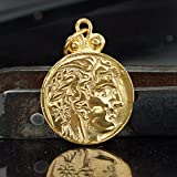 925 Silver Alexander Coin Double Sided Pendant Turkish Handmade Ancient Jewelry
