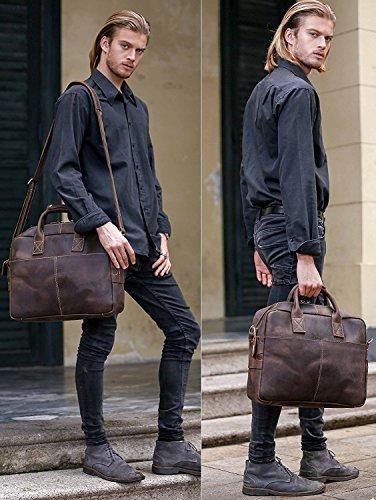 UBaymax Aktentasche Ledertasche Laptoptasche Notebook Tasche Handtaschen Umhängetasche Schultertasche Reisetasche Leder Herren 15.6 Zoll,Groß:41cm x 9cm x 30cm,Dark Braun