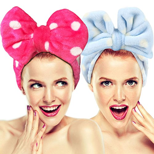 2 Pack Hairizone Makeup Headbands for Washing Face Shower Spa Mask, Soft and Cute Big Bow Hair Bands for Women and Girls (Light Blue/Roseo) by Hairizone