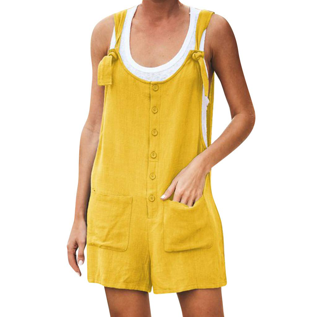 KEERADS- Femmes Casual Bouton Poche Jumpsuit Vintage Shift Spaghetti Strap Barboteuses Dame Coton Lin Pocket Strap Jumpsuit Top + Pantalon Siamois Barboteuses S-XL