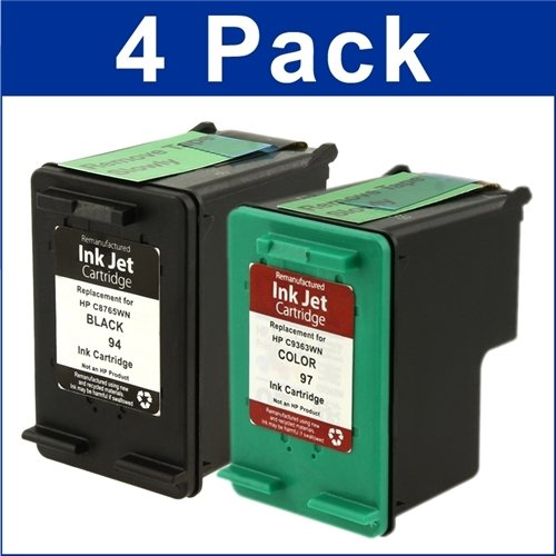 Remanufactured Cartridge Remanufactured Ink Cartridge Replacement for HP 94 ( Black , 4-Pack )