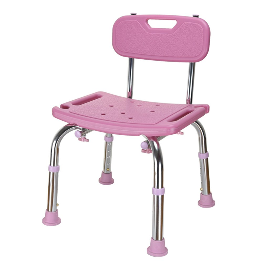 WSSF- シャワーチェア 高さ調節可能な高齢者のシャワーシートチェア背もたれの家庭のトイレトイレの障害大人の厚いアンチスリップ入浴スツール、43 * 39 * 60.5-70.5cm (色 : Pink) B07BFVLB81  Pink