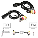 Relper-Lineso TV 3 RCA A/V And USB IR Remote Control Extender Kit Over CAT5/6 for Controlling DVD/Set-Top Box from Another Room (A/V 3RCA + USB IR Extender With Power) Relper-Lineso