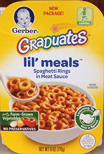 Gerber Graduates Lil' Meals SPAGHETTI RINGS IN MEAT SAUCE – 6oz. (Pack of 10)