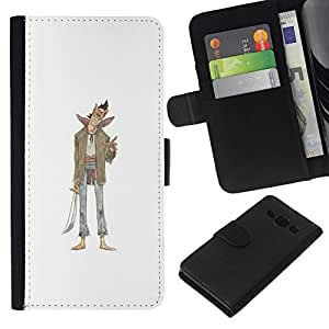 All Phone Most Case / Oferta Especial Cáscara Funda de cuero Monedero Cubierta de proteccion Caso / Wallet Case for Samsung Galaxy A3 // Evil Character Sword Art Drawing Smile