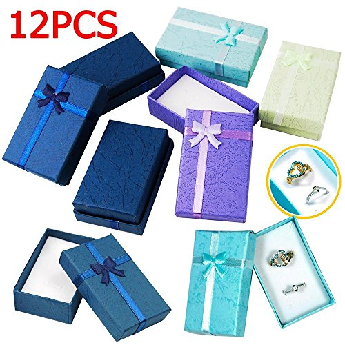 5 Wholesale Necklace Earring (Yaheetech 12pcs Paper Jewelry Gifts Boxes For Jewelry Display-Rings, Small Watches, Necklaces, Earrings, Bracelet Gift Packaging Box (Mix Color))