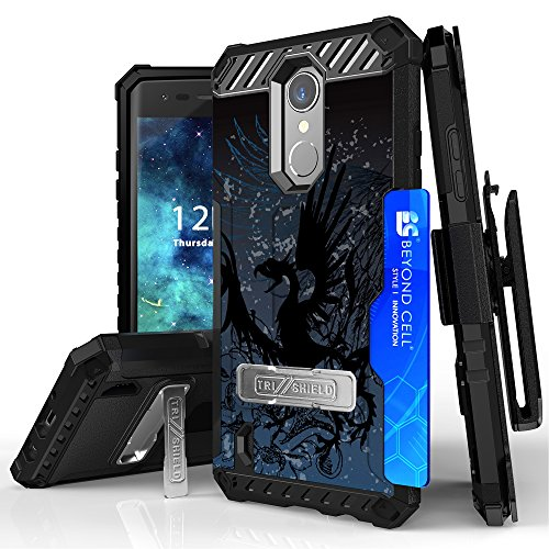 LG Fortune, LG Aristo, K8 (2017), Phoenix 3, Rebel 2 LTE, Risio 2 Case, DuroCase Combat Armor Style Kickstand Cover With Screen Protector Belt Clip Holster Phone Strap - (Dragon)