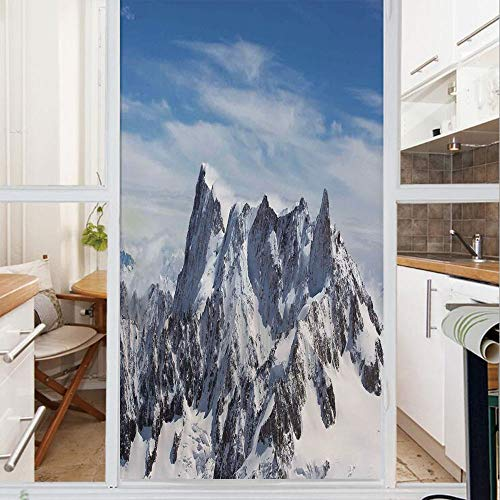 Decorative Window Film,No Glue Frosted Privacy Film,Stained Glass Door Film,Picturesque Mont Blanc Cliff to Cloud Idyllic Environment Trekking Landmark,for Home & Office,23.6In. by 47.2In White Blue
