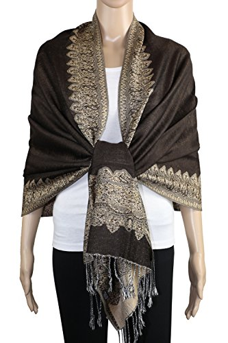 Achillea Elegant Reversible Paisley Border Pattern Pashmina Shawl Wrap Scarf (Dark Chocolate) Scarf Dark Chocolate