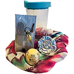 Cup Full of Fun Gift Set – Perfect for Mother's Day, Graduation, Teenage Birthday, Teacher Presents or Bridesmaid Gifts. Rose Mirrored Compact, Scarf, Manicure Set, EOS Lip Gloss All in a Travel Cup.