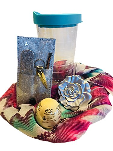 Set – Perfect for Mother's Day, Graduation, Teenage Birthday, Teacher Presents or Bridesmaid Gifts. Rose Mirrored Compact, Scarf, Manicure Set, EOS Lip Gloss All in a Travel Cup. (Scarf Gift Set)