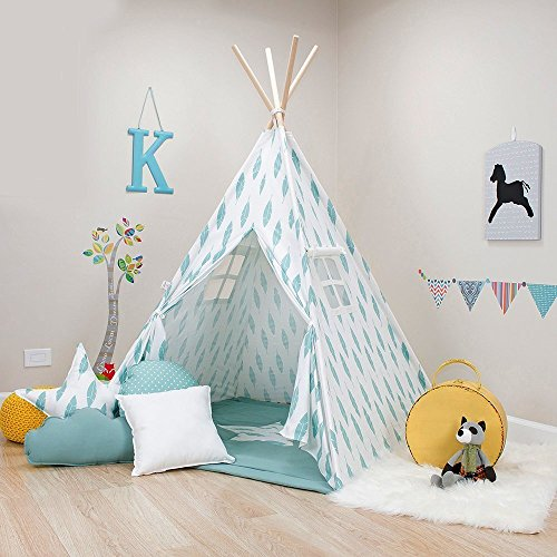 Kids Teepee Tent, Turquoise Feather Teepee Set, Handcrafted Teepee for Kids, Comes with a Set of 4 Fun Shaped Pillows, and a Comfy Mat. by Teepee Joy