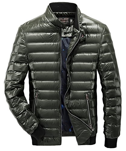 Down Jacket Warm White Lightweight Waterproof Green Care Duck Quilted Mildly YYZYY Zipper Men's Winter Coat Easy wzxnqpEEYC