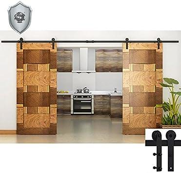 G & J Puerta Corredera hardware 10 ft/3048 mm estilo antiguo línea plano geformt Negra