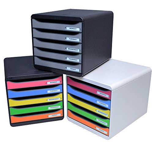 (Ultimate Office 5-Drawer Stacking Deskset (Black w/Assorted Color Drawers, Landscape))