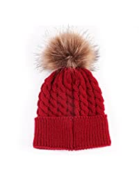 Mapletop Newborn Knitted Hats Winter Kids Cute Wool Caps Baby Hemming Hat