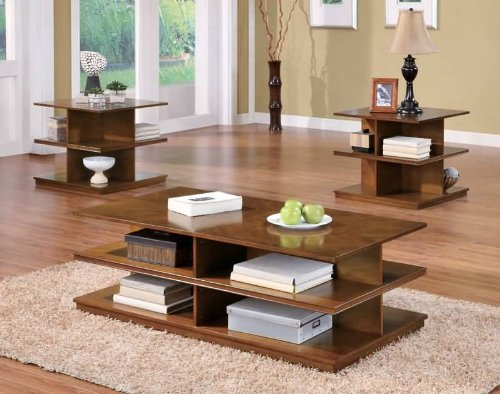 Barbara 3 Piece Occasional Table Set in Brown Finish by Coaster Furniture ()