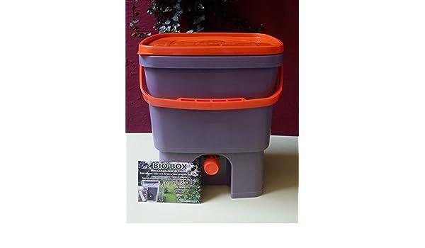 Lot de 2 composteurs de cocina Biobox 20L, incluye 1 kg D - Activador Bio (Bio MW fórmula concentrée incluye) - Compost sin olores, sin hacia de tierra.