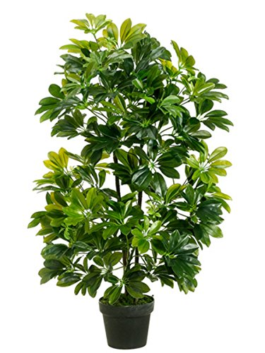 One 40 inch Outdoor Artificial Schefflera Palm Tree UV Rated Potted ()