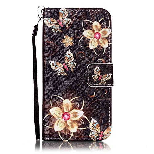 Urberry iPhone SE/5s/5 Wallet Case, 3D Wallet Stand Feature Flip Book Case for iPhone 5s/5/SE with a Free Screen Protector (Black flower)