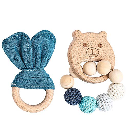 Best Teething Toys for Babies,Wooden Teethers Natural Organic Cotton Bunny Ear Rings Montessori Toys 2pc Pink Shower Gift