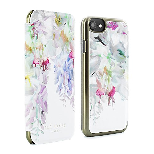 Official TED BAKER® SS16 Apple iPhone 7 Folio Style Mirror Case / Cover for Women / Girls, Snap on Case for iPhone 7 in Floral Design with Built in Mirror - ELEETA - White / Floral