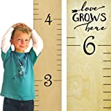 "Growth Chart Art | Wooden Ruler Height Chart for Kids | Naked Birch/Black Lettering ""Love Grows Here"" 