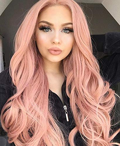 TANYAWIGS Hot Sale Peach Red Pink Long Wavy Wigs Rosie Whiteley Hairstyle Heavy Density Blend Color Glueless Synthetic Lace Front Wigs for Women -