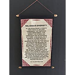 Dalai Lama Quotes - RELIGIOUS DIVERSITY - Postitive Thinking Quotes Cotton Canvas Scroll Tapestry Wall Hanging Poster - Hand Made By Tibetan Refugees - OMA FEDERAL (TM) BRAND