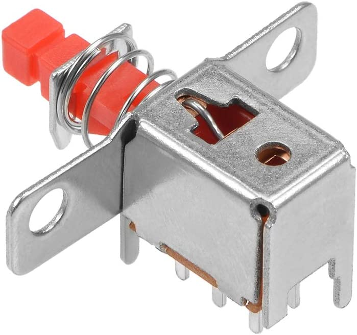 DPDT 6 Pin 1 Position Self-Locking Red 5pcs uxcell Push Button Switch