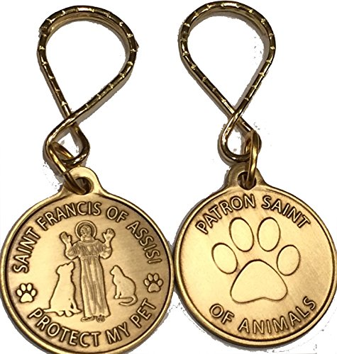 Saint Francis of Assisi Patron Saint Of Pets / Protect My Pet Keychain Paw Print Design