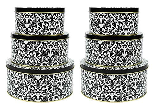Tin Black Cookie - Set of 6 Nesting Tins! Perfect for Storing Cookies, Craft Supplies, Children's Toys, etc.