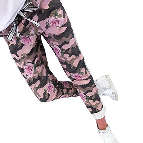 Pink Trousers Militari Femminile Fit Vintage Con Per Libero Coulisse Pantaloni Donna Stampa Slim Fiore Tempo Eleganti Unico Estivi Elastica Costume Vita Moda nUOqg1