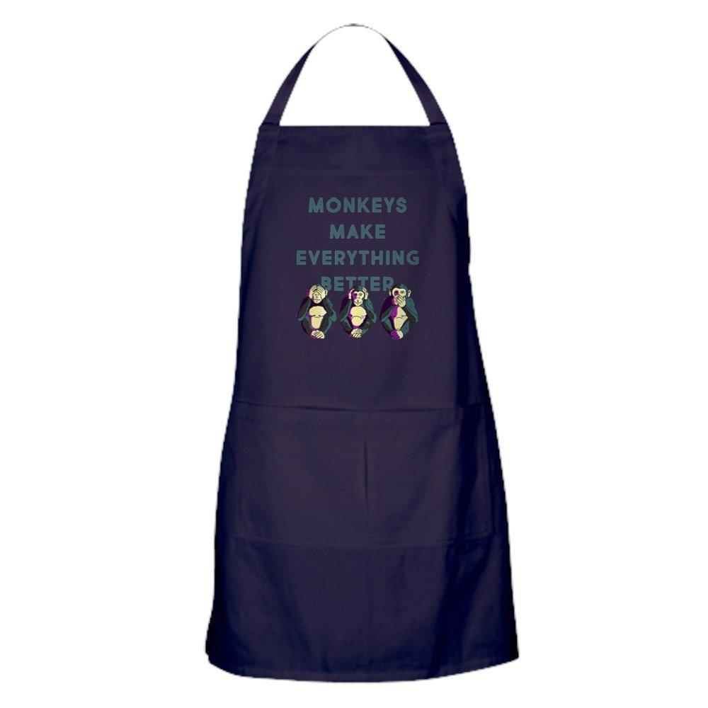 CafePress – Monkeys Make Everything Better – キッチンエプロン ポケット付き グリルエプロン ベーキングエプロン   B0784CJQBM