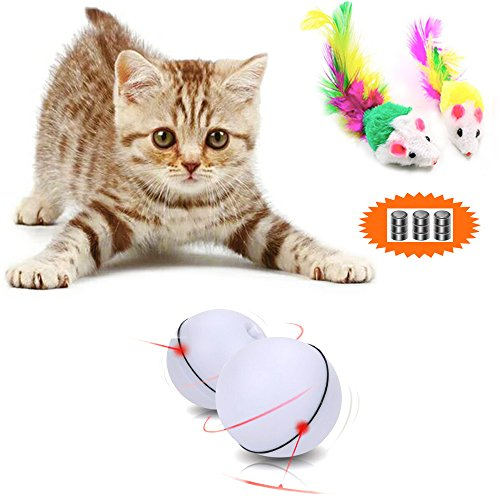[New Product Promotion] Malier Interactive Cat Toy Ball 360 Degree Automatic Rotation Ball Automatic Light Toy for Cat Dog Pet with 2 Free Furry Mice Toys (3 Packs Batteries Included)