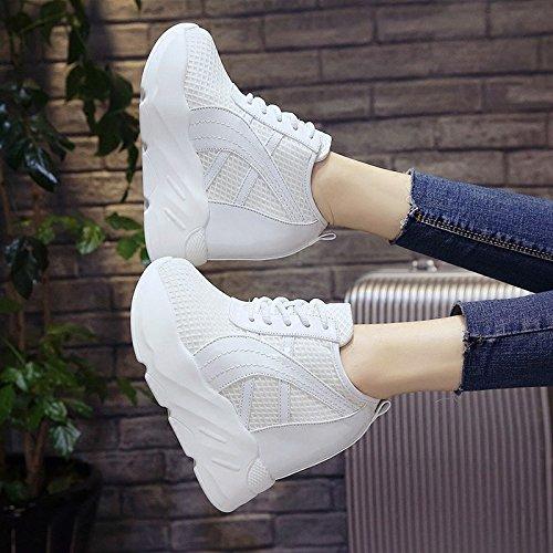 NGRDX&G Damen Sneaker Weiße Frauen Flache Schuhe Spitze Band Cm Atmungsaktiven Schuhe 10 Cm Band Hoch Hilfe Damen Freizeitschuhe Weiß 487cd5