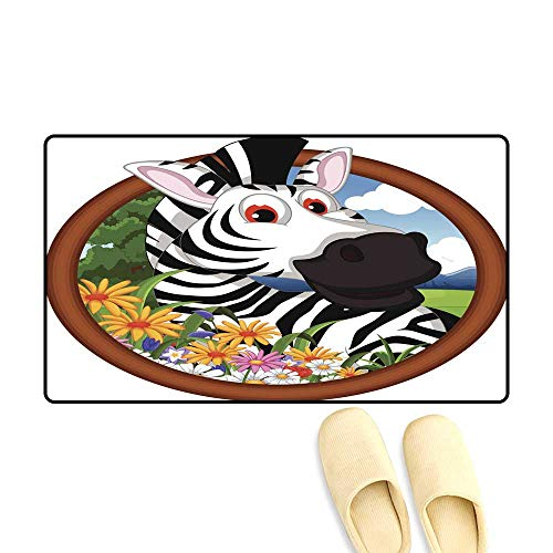 Interior Doormat Zebra Cartoon in Frame - Bobs Zebra Shoe