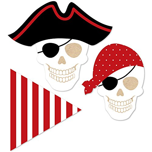 Beware of Pirates - DIY Shaped Pirate Birthday Party Cut-Outs - 24 Count