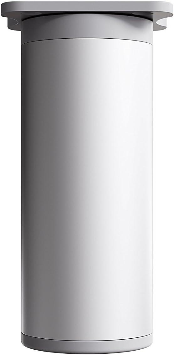 sossai® Patas para muebles MFR1 | 4 piezas | altura regulable | Diseño: Alu | Altura: 80 mm (+20mm) | Perfil redondo: 40 x 40 mm |Tornillos incluidos