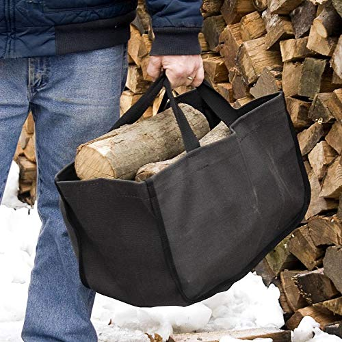 (R & R Canvas Large Black Closed-End Log Tote )