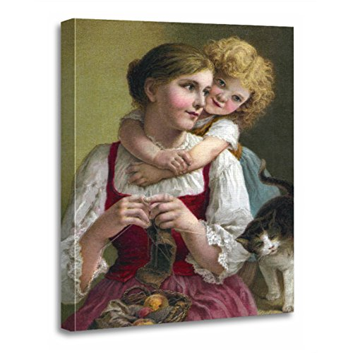 (TORASS Canvas Wall Art Print Cats Knitting with Sweet Victorian Children Mothers Daughters Artwork for Home Decor 16