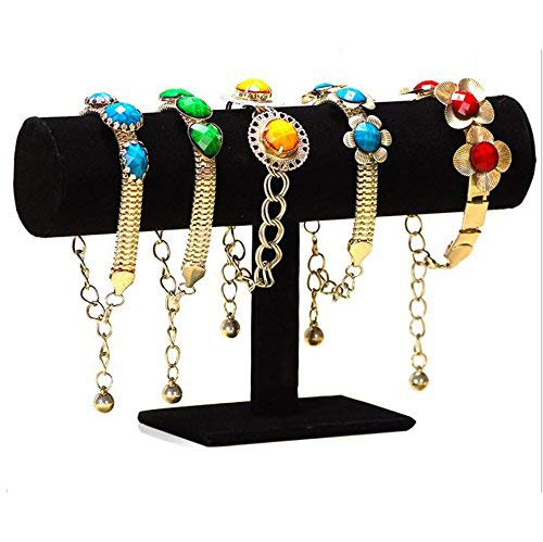 JCHB T-Bar Jewelry Bracelet Black Velvet Stand for Home Organization
