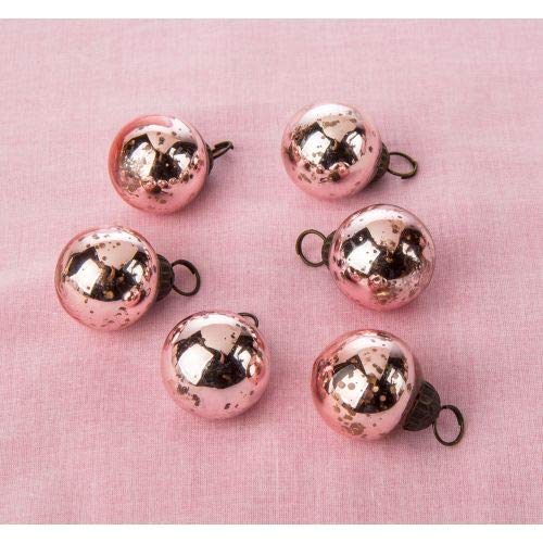 Luna Bazaar Mini Mercury Glass Ball Ornaments (1 to 1.5-Inch, Rose Gold Pink, Ava Design, Set of 6) -Great Gift Idea, Vintage-Style Decorations for Christmas, Special Occasions, Home Decor and Parties (Ornament Glass Christmas Mercury)