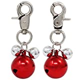 abcGoodefg® Bell Pendants Lobster Clasp Bell Ornament for Keychain Pet Dog Cat Necklace Collar Decoration (Red-3)