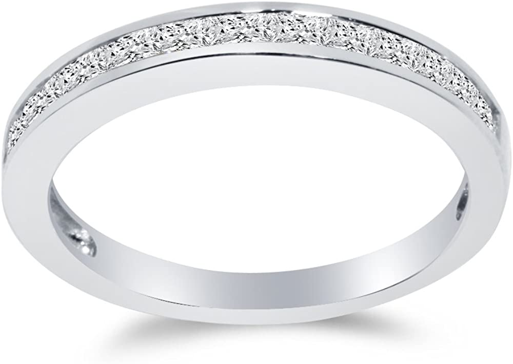 Solid 925 Sterling Silver 3mm Princess Cut Invisible Anniversary Ring Wedding Band CZ Cubic Zirconia 1/2 cttw.