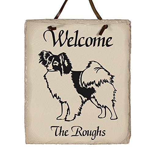 GiftsForYouNow Welcome Dog Breed Personalized Slate Plaque, Papillon